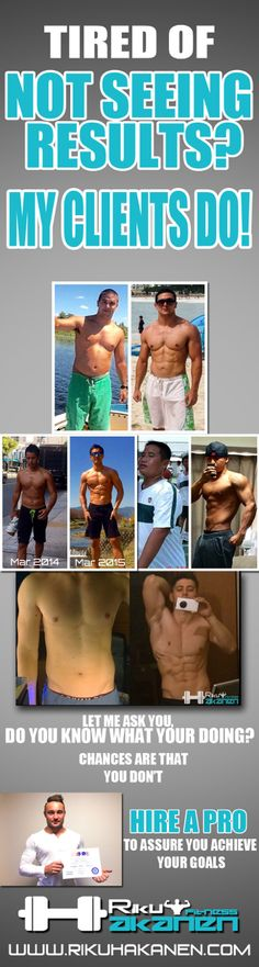 Do you know what you're doing? Most people do not know what they're doing so they fail their fitness goals. Let a pro, let me take care of planning your nutrition and workouts so YOU WILL ACHIEVE YOUR GOALS! Change your life!