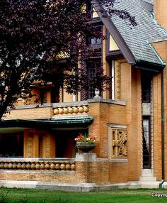 Detail of Nathan G Moore house on Forrest Avenue in Oak Park in Chicago, Illinois - designed by Frank Lloyd Wright