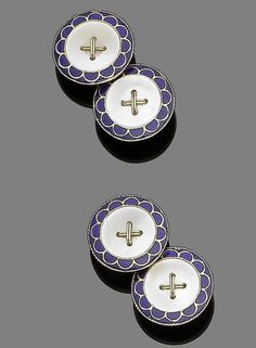 A pair of enamel and mother-of-pearl cufflinks.  Double-sided: designed as a button, the mother-of-pearl plaque with a royal blue guilloché enamel border with scalloped detailing, to chain-link connectors, numbered, plaque diameter 1.4cm