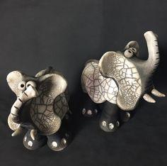 """Atelier Rouge Terre"" (France). 2017 Argilla. Aubagne. France. International pottery fair. Raku. Figurine. Elephant"