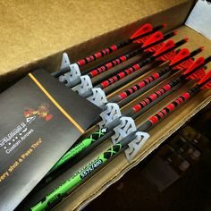 Custom arrows for the guys at DirtNap Gear in Black and Neon Red by Pass Thru Custom Arrows.