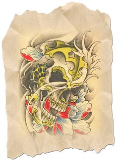 Find gifts for him at The Skull Man Zazzle. This and many other skull designs on t-shirts, wallets, laptop sleeves, phone skins etc. Skull Tattoo Design, Skull Design, Tattoo Designs, Japanese Back Tattoo, State Tattoos, Dali Tattoo, Fresh Tattoo, Skull Art, Traditional Tattoo
