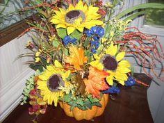 BRIGHT SUNFLOWER FALL Floral Arrangement by CustomFloralDesigns, $51.95 Pumpkin Planter, A Pumpkin, Sunflower Arrangements, Floral Arrangements, Fall Halloween, Sunflowers, Vines, Florals, Berries