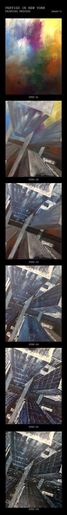 Proceso de creación del acrílico con espátula y muchos puntos de fuga - Vértigo en Nueva York.  Creation process of acrylic with spatula and a lot of vanishing points -Vertigo in New York.  HMZEN'15