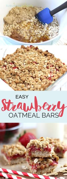 You'll love these wholesome Strawberry Oatmeal bars because they're so easy to make and taste so good! They're a healthy grab & go breakfast or after school snack! snacks for groups The Oatmeal, Easy Oatmeal Bars, Strawberry Oatmeal Bars, Gourmet Recipes, Dessert Recipes, Desserts, Healthy School Snacks, Healthy Homemade Snacks, After School Snacks