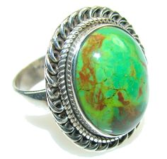 $46.25 Green Copper Turquoise Sterling Silver Ring s. 7 1/4 at www.SilverRushStyle.com #ring #handmade #jewelry #silver #turquoise