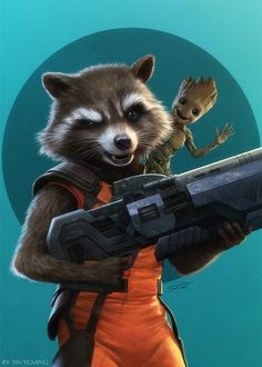 Rocket Raccoon and Baby Groot , yin yuming on ArtStation at https://www.artstation.com/artwork/qbwZR
