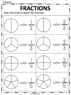Free Fraction Worksheet – Color the Fraction Simple print and practice page for fractions. Look at each fraction and shade the circle to match. Free Fraction Worksheets, Math Fractions Worksheets, Learning Fractions, First Grade Math Worksheets, Homeschool Worksheets, Fraction Activities, Teacher Worksheets, 1st Grade Math, Kindergarten Worksheets
