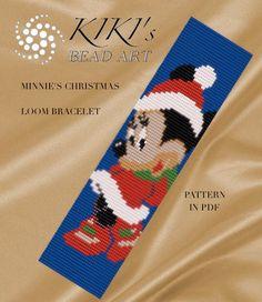 SALE Loom pattern for bracelet - Minnie's Christmas loom bracelet pattern cuff pattern in PDF - instant download par KikisBeadArts sur Etsy https://www.etsy.com/fr/listing/276344220/sale-loom-pattern-for-bracelet-minnies