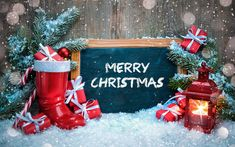 Download wallpapers 4k, christmas gift, winter, snow, Happy New Year, Merry Christmas, wooden background, xmas decorations, gifts, christmas, lamp, New Year