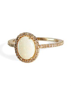 Opal and Diamond ring - olivia i pinned this for you, except i would have it with white gold