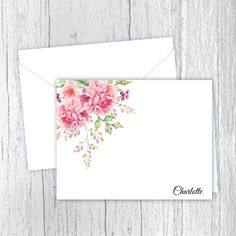 Pink Peonies - Personalized Printed Note Cards Small Letters, Personalized Note Cards, Card Io, Pink Peonies, White Envelopes, Pretty In Pink, Card Stock, Birthday Gifts, Great Gifts