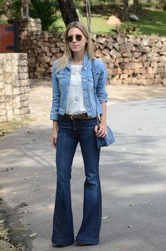 CHICA1L 2 Meu Look: Mais um Jeans =( Meu Look La Chica De Oro Jóias Jeans Jaqueta Jeans Flare