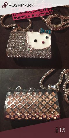 """Betsey Johnson Crystal kitty purse necklace NEW New with tags. 28"""" chain. Next day shipping Betsey Johnson Jewelry Necklaces"""