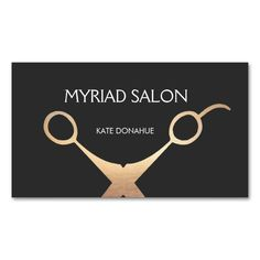 Elegant Gold Scissors Hair Stylist Salon Black Double-Sided Standard Business Cards (Pack Of 100). This great business card design is available for customization. All text style, colors, sizes can be modified to fit your needs. Just click the image to learn more!