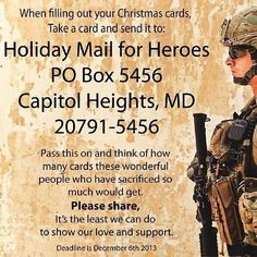 Send a holiday sard to our troops.!