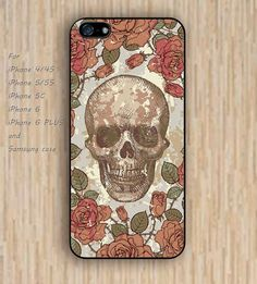 iPhone 6 case flowers skull wooden skull iphone case,ipod case,samsung galaxy case available plastic rubber case waterproof B081