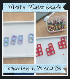 Water beads and numicon used as a visual representation of counting in and Maths Eyfs, Eyfs Classroom, Preschool Math, Teaching Math, Numicon Activities, Math Doubles, Counting In 2s, Spring Term, Finger Gym