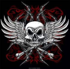 Skull and crossbones and wings, sweet!