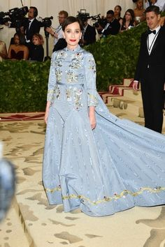 Theme: Heavenly Bodies: Fashion and the Catholic Imagination Met Gala 2017 can be found here Met Gala 2016 can be found here Met Gala 2015 can be found here Met Gala 2014 can be found here Kristin Scott Thomas, Met Gala Red Carpet, Erdem, Blue Dresses, Sari, Glamour, Fashion, Saree, Moda