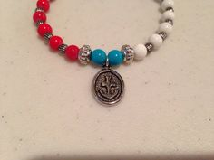 Anchor charm bracelet - white, turquoise and red glass beads - silver accent beads - lobster closure  on Etsy, $16.00
