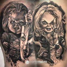 Chucky and Tiffany tattoo❤️ Clown Tattoo, Payasa Tattoo, Chucky Tattoo, Body Art Tattoos, Sick Tattoo, Tiffany Tattoo, Horror Movie Tattoos, Bride Of Chucky, Horror Themes