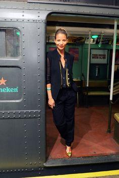 "Denise Vasi attends the Heineken ""Crack The Case"" event celebrating Heineken's 15 year partnership with James Bond at MTA Museum in Brooklyn."