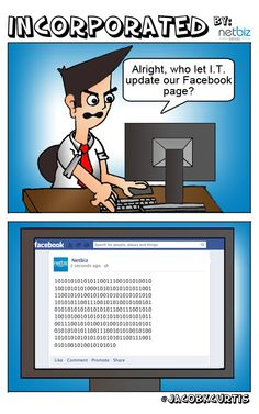 """My first Social Media Comic of a new series called """"INCORPORATED"""" which depicts the everyday lives of office employees working in online advertising. Online Advertising, Fantasy Characters, Infographics, Social Media Marketing, Let It Be, Humor, Facebook, Comics, Creative"""