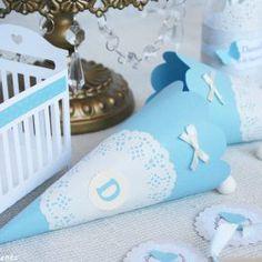Bautizo beig y azul para Daniella