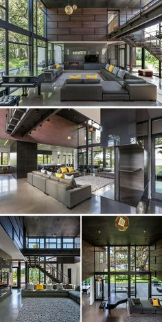 Inside this modern industrial house, the living room has a two story atrium with glass walls on the north and south edges capturing daylight throughout the day and inviting views through the house to the trees and lake beyond. #ModernIndustrial #LivingRoom