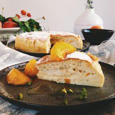 timo e basilico: Torta magica alle pesche {e vaniglia}