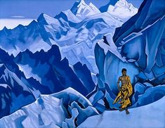The Unspilling Vessel, 1927 by Nicholas Roerich. Symbolism. genre painting. Private Collection