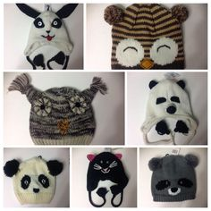 d0d061ab667 Knit Ski Hat Beanie Boggin One Size Puppy Cat Panda Owl Penguin USA Seller  NEW