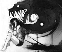 grafika monster, anime, and demon Anime Negra, Art Noir, Arte Obscura, Dark Art Drawings, Drawing Faces, Art Et Illustration, Art Illustrations, Arte Horror, Oeuvre D'art