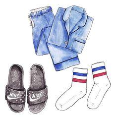 Good objects - Current situation… Jcrew pjs + nike slides + monki socks #goodobjects Watercolor illustration