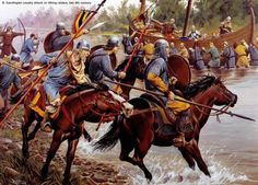 Frankish knights charge at Viking raiders 9th century AD