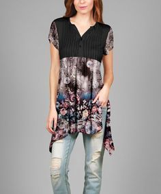 Look what I found on #zulily! Black & Pink Floral Button-Front Tunic #zulilyfinds