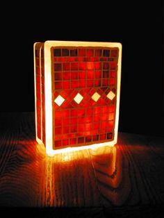 Mosaic glass block with night light