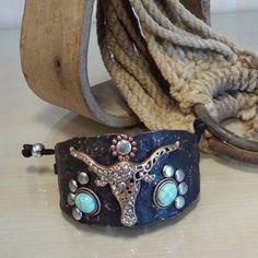 Hammered Longhorn Brown Adjustable Bracelet