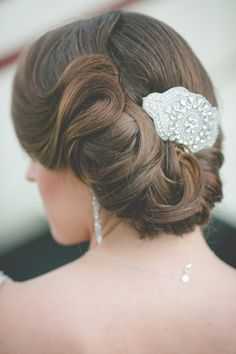 Beautiful Wedding Updo &Rhinestone Bridal Hair Clip ~ we ❤ this! moncheribridals.com #weddingupdo