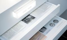 Timeline Drawers -great way to present archive info and keep it neat and tidy. Need one of the classroom trolleys so can remove drawers but have perspex cover Interactive Exhibition, Exhibition Display, Exhibition Space, Museum Exhibition, Interactive Design, Display Design, Booth Design, Store Design, Signage Design