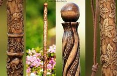 Walking stick carved and realized on command, length 1 m to 1 m 50. The choice of the theme and length are to indicate me on the order. Fully customized to your wishes. Carved on the 3/4 stick Painted stained finish or painted nature, to choose.