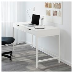 ALEX Desk IKEA Built-in cable management for collecting cables and cords out of . - Ikea DIY - The best IKEA hacks all in one place Bureau Alex Ikea, Ikea Alex Desk, Ikea Desk, Mesa Home Office, Home Office Desks, Home Office Furniture, Office Decor, Ikea Office, Furniture Ideas