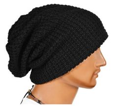 Black Thick Slouchy Knit Oversized Beanie Cap Hat 02566797cf32