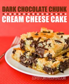 Dark Chocolate Chunk Cream Cheese Cake @Bonnie Hunter   Basically a chess cake with delicious chocolate chunks, yum must try but I usually put butter in my filling as well