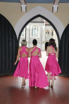 Fuchsia Short Straight, Tea Length, and Ballgowns   twobirds Bridesmaid Dress   a real wedding featuring our multiway, convertible dresses