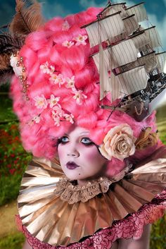 """Shipwreck hair - not sure what """"look"""" we are going for here - Marie Antoinettesque meets pseudo-Elizabethan Ruffle and then along comes a ship... ahoy!"""