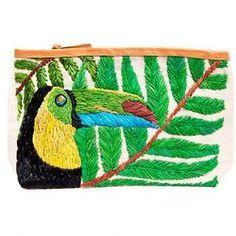 bolsa com bordado rústico de tucano
