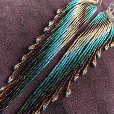 Maui Swan conçoit « Native Wing » Extra longue ~ graine perle fait main Boucles d