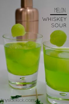 St. Patty's Day Green Cocktail: Melon Whiskey Sour- This is going to be perfect for the ladies on St. Patty's day!